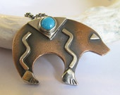 Turquoise Necklace, Copper Bear Necklace, Turquoise Jewelry, Mixed Metal Jewelry, Southwestern Jewelry, BearTotem, Silver And Copper Jewelry