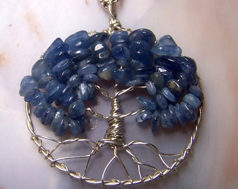 Kyanite Tree of Life necklace pendant with chain - Blue Kyanite Necklace - Kyanite wire wrap pendant - Tree of Life pendant Sterling SIlver