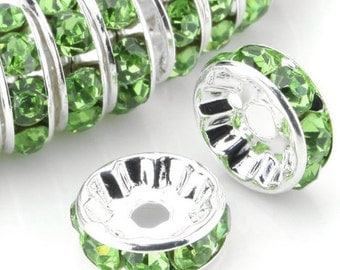 8MM Plated silver green crystal jewelry spacer beads    quantity 10  jewelry findings  DRW93