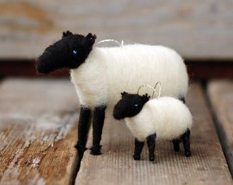 Suffolk Mama Sheep and Baby Lamb Ornament Duo - Needle Felted Christmas Gift Set