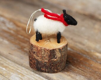 Suffolk Lamb with a Red Scarf - Needle Felted Christmas Ornament