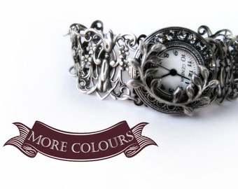 Silver watch bracelet Gothic watch Victorian Jewelry Unique Women Watches Oxidized Silver Floral Filigree Watch Romantic gift for women