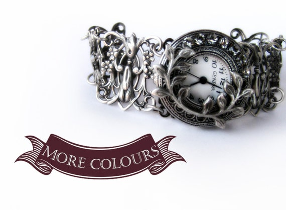 Womens Silver Watch Vintage gothic bracelet Watch Silver Filigree watch Jewellery Oxidized Floral Vintage Romantic gift for women