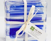 fused glass coasters. blue, white, clear transparent glass coasters. set of 4.