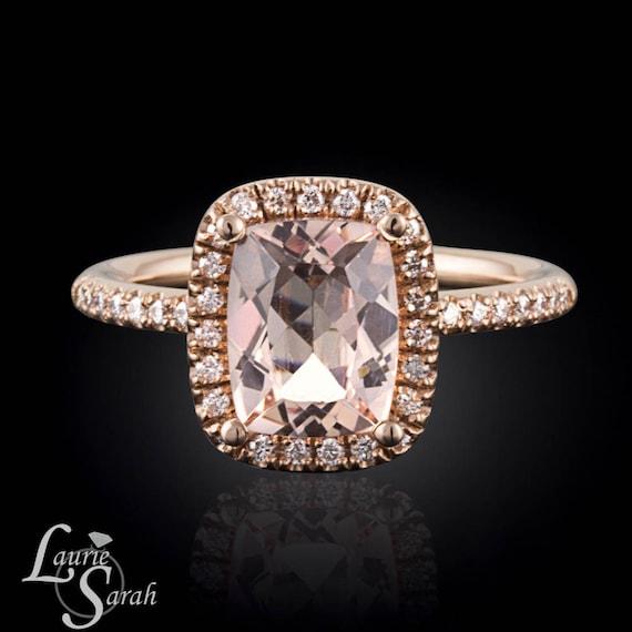 Dainty Morganite Engagement Ring Rose Gold by LaurieSarahDesigns