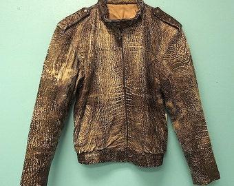Vintage 80s Marble Leather Bomber Jacket  Jacket Niki Pelli S M