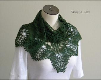 Hand Knit Lace Shawl - Scarf - Green - merino wool