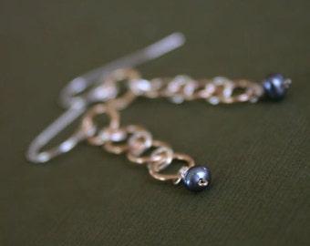 Gold Sterling Silver, Peacock Freshwater Pearl Dangle Earrings, 14K Goldfill