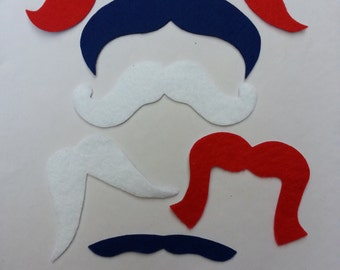 Red, White, and Blue 10 Pack Adhesive Felt Mustaches (ADULT SIZE), Fake Mustaches, Adhesive Moustache, Moustache, Mustache Party Favors