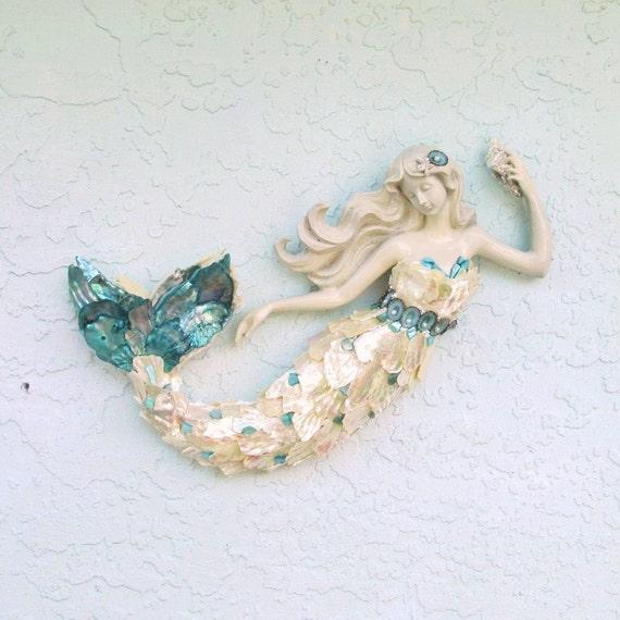 12 Inch Metal Home Decor Oriental Pearl Figurine Iron: Mermaid Sculpture Figurine Statue Wall Art With Abalone Shells