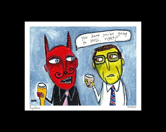 Art print, illustration - Republican - outsider political art by Murphy Adams