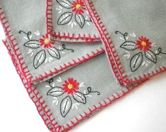 Redwork Napkins 4 Embroidered Red on Gray Vintage