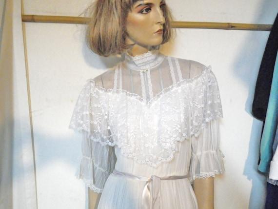 Wedding dress hippie edwardian style vintage 70s prairie size s candi