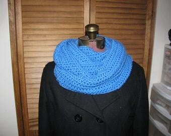 Blue crochet infinity scarf, circle scarf, warm winter neck warmer