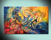 Two Elements red blue gold Art Print Wall Art Canvas Giclee Wall Decor Art Home Decor birds and flowers interior design wall art hangings