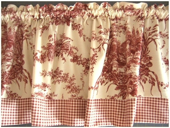 RED TOILE Curtain Valance - Waverly La Ferme pattern - ROOSTERS