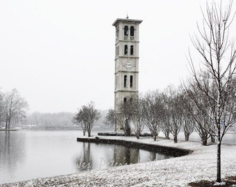 Furman University Photos, Bell Tower photograph, Greenville SC Dreamy Winter Snow Photography Black & White Wall Decor, 8x12 Fine Art Print