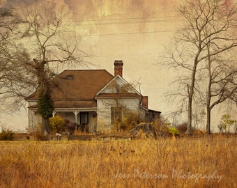 Old Farm house photos, SC Winter country art, Brown Rust decor, Grunge photography, Textured Rustic Cottage Chic wall art  Fine Art Print