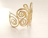 Butterfly Gold bracelet, Wide cuff bracelet,Bridal  Bracelet, Bridesmaid bracelet, Woddland, Wedding