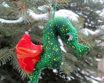 Seahorse Softie Ornament (green/red brocade)