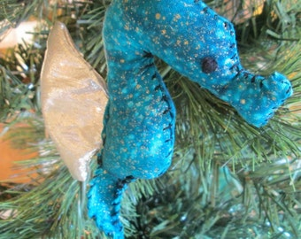 Sparkly Blue Seahorse Ornament (gold sparkle blue/silver)