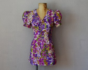 vintage 1960s FLORAL print puff sleeve micro mini dress