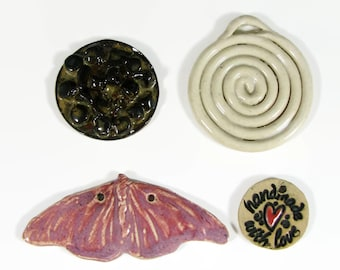 SALE- 4 Focal Bead Pendants for the price of 1 - Handmade Ceramic Clay Stoneware Pottery - Ready to Ship