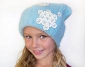 Frozen Snowflakes Hat Girls, Winter Hat Frozen, Snow Cap Pale Blue Aqua one size preteen thru adult Winter hat Fuzzy Warm