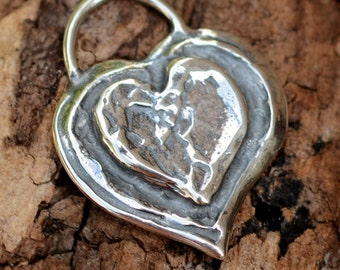Chunky Layered Heart Pendant in Sterling Silver, H-145