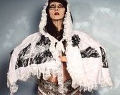 White Lace Hood Cape, Couture wing tattered shawl, Fantasy capelet, Fairytale costume. Black Patchwork