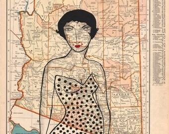 Desert Diva-Vintage Map Paining, Map Art, Arizona, Vintage Arizona, Atlas Painting
