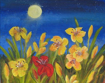 SALE! Original painting -  Daylilies at Night - 20 x 20 inches -  gallery wrapped canvas -  by Kate Ladd