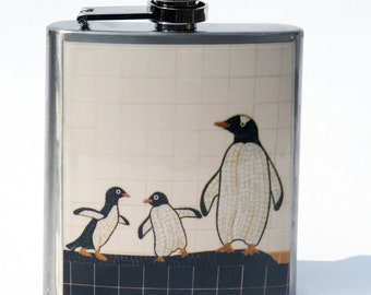 Hip Flask- Groomsmen Gift- Cool Groomsmen Gift- Anniversary Gift- Unique Gift-Penguin Gift- Gift for Her- Cute Penguin- Groomsmen Gift