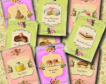 Vintage Art Pastries-Cakes Pies Tortes-Tags/Labels/Cards-INSTaNT DOWNLoAD-Printable Collage Sheet  JPG Digital DownloaD