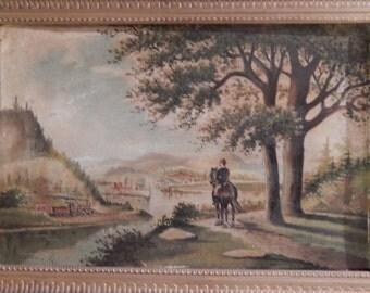 W H Brown . Antique Landscape Oil Painting . 1887