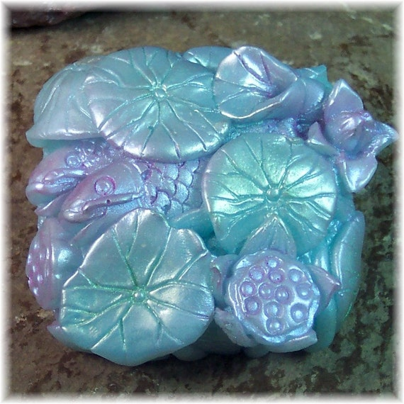 Lotus and koi pond hand cast glycerin soap for Koi fish pond lotus
