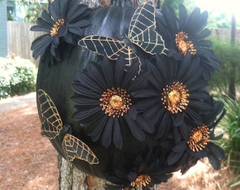 Black Pumpkin with Butterflies and Halloween Flowers Decor