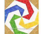 Lollipop quilt block pattern, paper pieced quilt patterns, instant download PDF pattern, geometric quilt pattern, kids quilt pattern