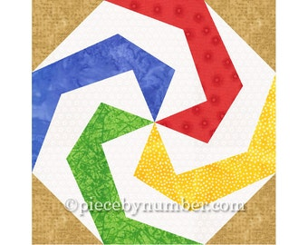 Lollipop quilt block pattern, paper pieced quilt patterns, instant download PDF pattern, geometric quilt pattern, kids quilt pattern