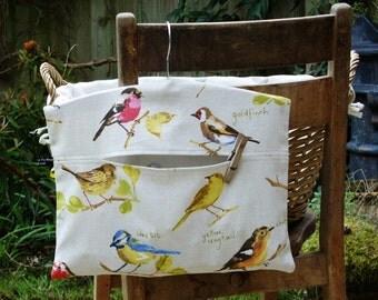 Garden Birds Clothespin Bag / Peg Bag