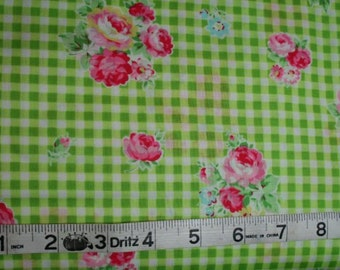 Pink Roses on Green Check Cotton Fabric ~ FLOWER SUGAR SPRING 2013 by Lecien 30748-60