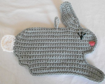 Grey Bunny Rabbit Pot Holder Hot Pad Crocheted