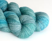 Hand Dyed Sock Fingering Yarn - Superwash Merino 400 Yards - Nessie - Shades of Aqua and Green