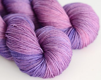 """Hand Dyed Sock Yarn - """"Hyacinth"""" in Purple and Pink - Fingering Weight"""
