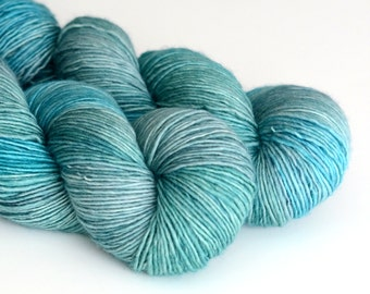 Nessie - Single Ply Yarn - Hand Dyed - Fingering Weight - Shades of Aqua and Green