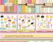 Instant Download Clipart and Paper Bundle.. Spring Girls MGB003