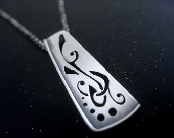 Sterling Silver Handcut Drop Necklace. Illuminated Manuscript Series.