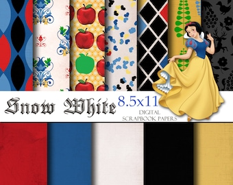 Disney Snow White Inspired 8.5x11 A4 Digital Scrapbook Paper Backgrounds -INSTANT DOWNLOAD -