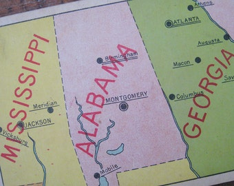 Vintage United States Geography Flash Card - Mississippi, Alabama, & Georgia