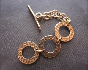 Mini Hammered Adjustable Toggle Clasp - Bronze